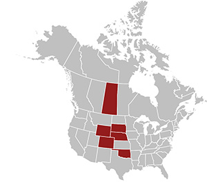Map of states and provinces with CWD as of 2000