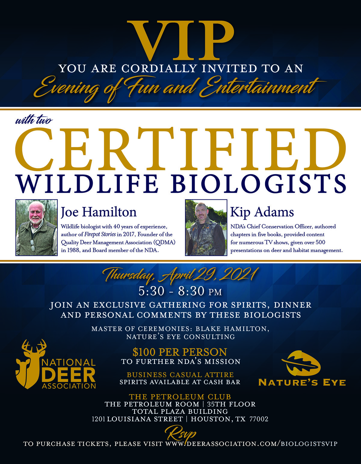 An Evening of Fun and Entertainment with Two Certified Wildlife Biologists @ The Petroleum Club
